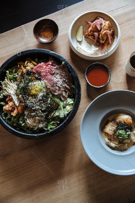Korean cuisine served in a restaurant