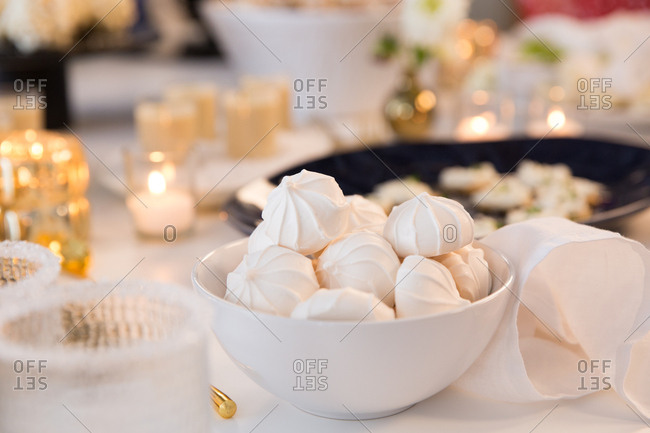 Meringues served by candlelight