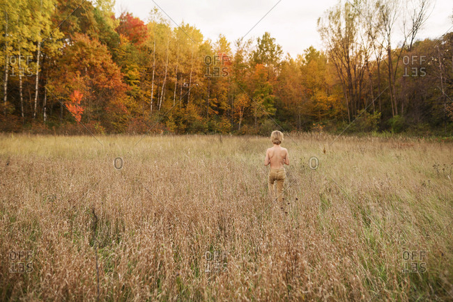 Young boy walking bare-chested in a field