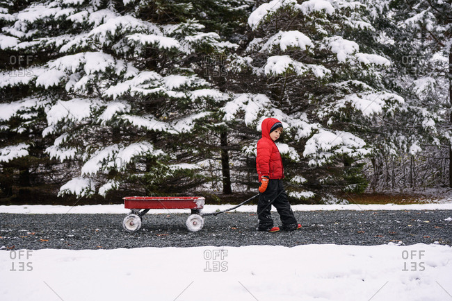 Young boy pulls a little red wagon