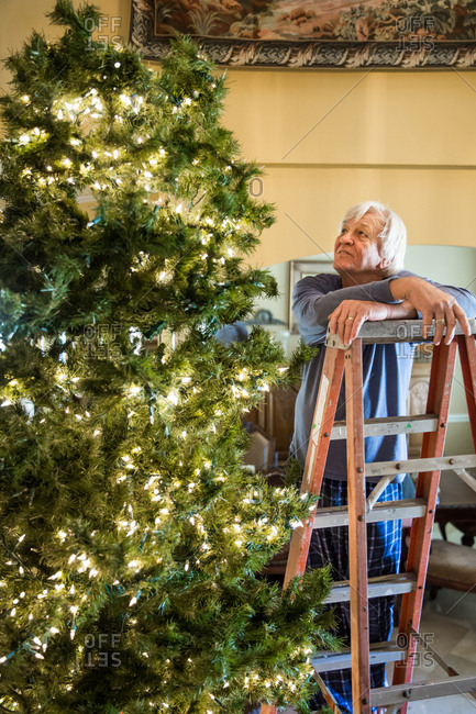 Senior man on a ladder stringing lights on a Christmas tree