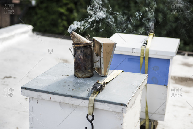 Beehive smoker with urban beehive box on rooftop