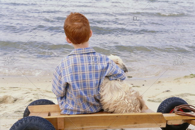 Boy at Beach with Dog