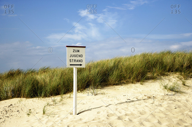 Sign in Sand, Sylt, Germany
