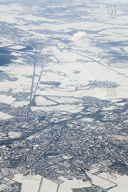 Aerial View of Duren, Weisweiler Power Plant in the Background, North Rhine-Westphalia, Germany
