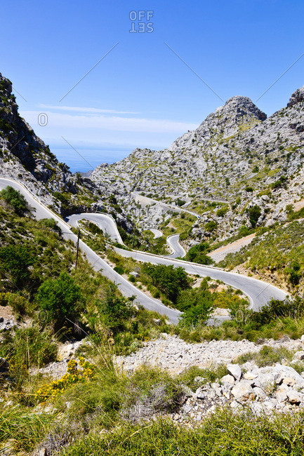 Hairpin Turns on Road through Mountains, Majorca, Balearic Islands, Spain