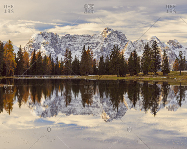 Morning view of the Sorapis Mountain group reflected in Antorno Lake at Misurina in Cadore, in the Ampezzo Dolomites, Italy