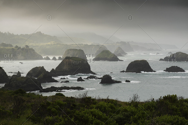 Rocky coastline of Northern California and Pacific Ocean, USA