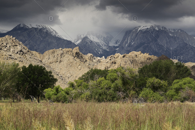 Storm clouds over the mountains of the Sierra Nevadas in Eastern California, USA