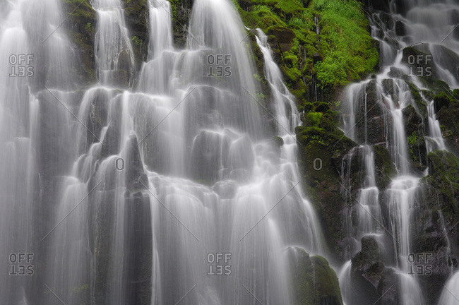 Close-up of the Ramona Falls cascades over rocks on Mt Hood National Forest at Clackamas County in Oregon, USA
