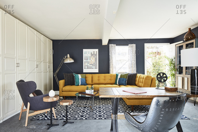 Los Angeles, CA - June 16, 2015: Retro living room interior