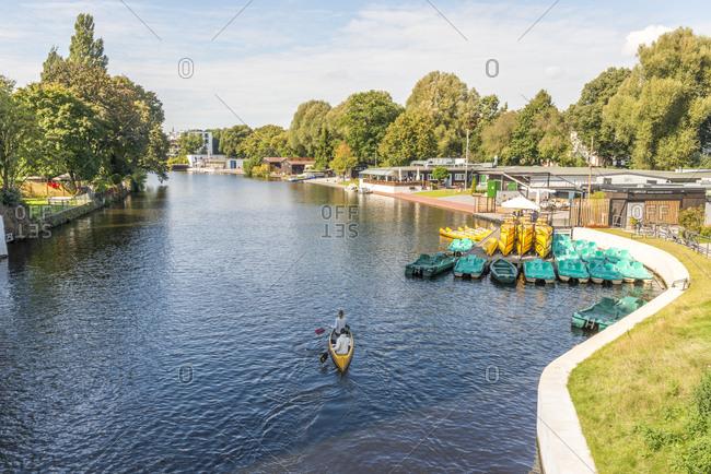 Hamburg, Germany - September 17, 2017: Isebek canal in Eppendorf