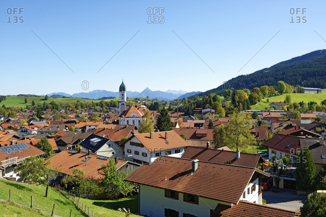 Nesselwang, Germany - October 9, 2014: The market town of Nesselwang in Bavaria, Swabia, Allgaeu, East Allgaeu
