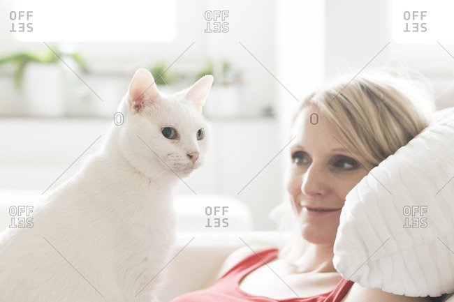 White cat and owner at home
