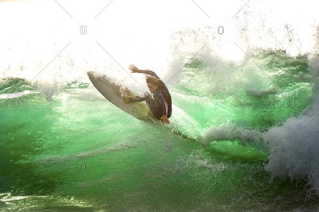 Spain- Tenerife- Surfer on the ocean