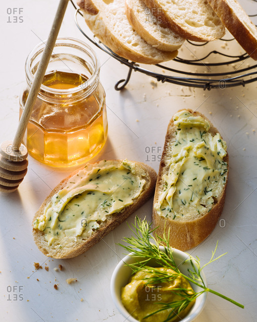 Slices of Baguette with compound butter