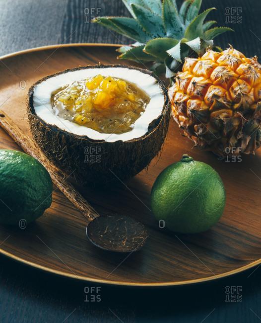 Pineapple jam in coconut