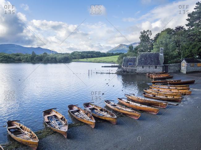 Great Britain- England- Lake District National Park- Keswick- lake- rowing boats