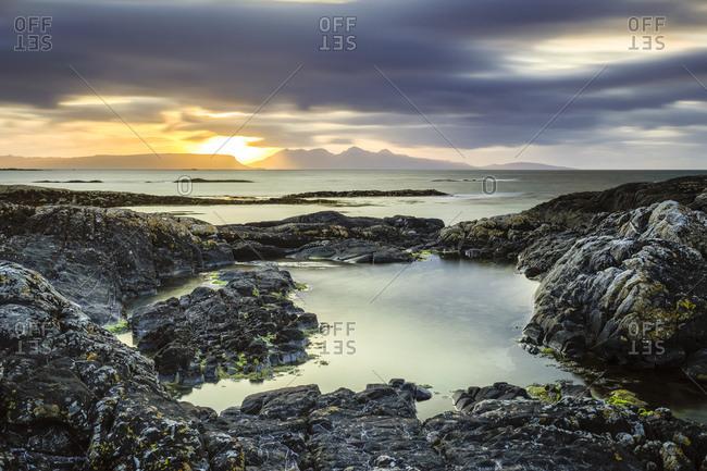 Great Britain- Scotland- Scottish Highlands- Council Area- coast near Arisaig- sunset
