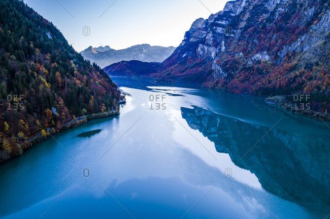 Switzerland- Canton of Glarus- Kloen Valley- Aerial view of Lake Kloentalersee
