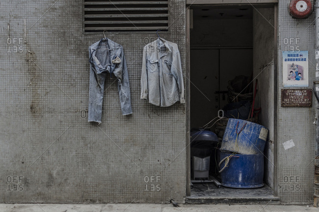 Hong Kong, Hong Kong - April 11, 2015: Laundry hanging in the street