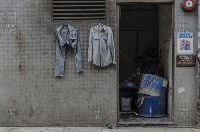 Hong Kong, Hong Kong - April 11, 2015: Laundry hanging in the street