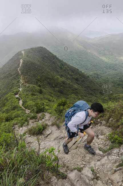 Hong Kong, Hong Kong - April 4, 2015: Hiking in Sai Kung