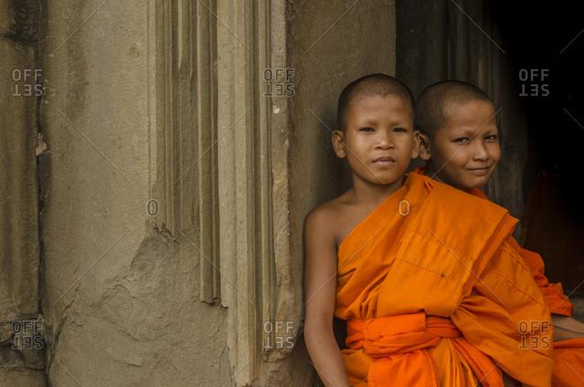 Siem Reap, Cambodia - June 24, 2015: Buddhist monks in Angkor Wat