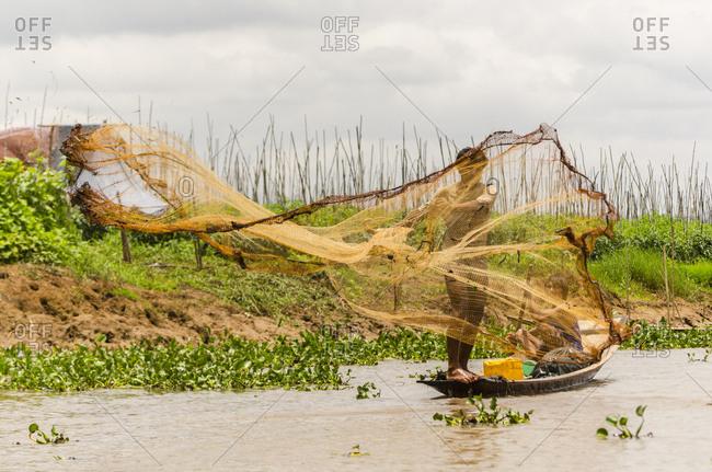Inle Lake, Myanmar - July 2, 2015: Fishermen on Inle Lake