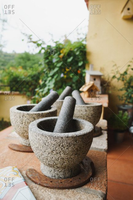Stone pestle and mortars