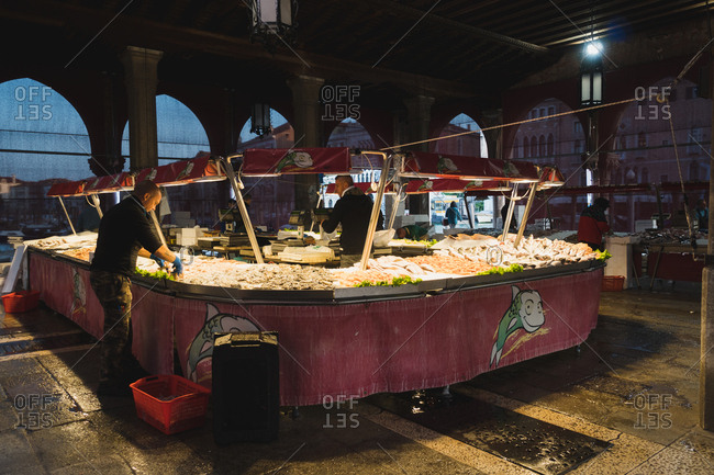 Venice, Italy - September 22, 2017: Fish market