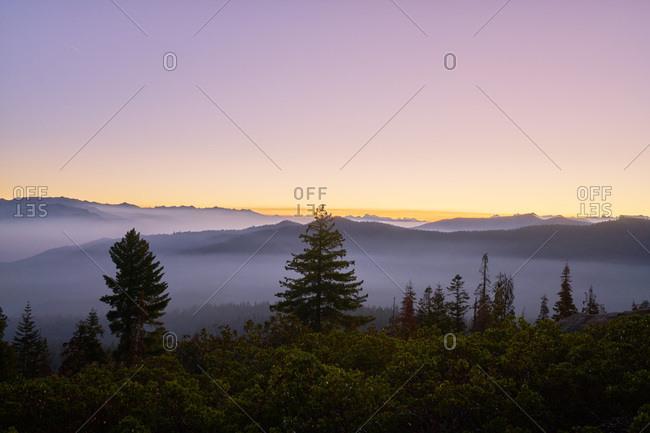 Blanket of fog at sunrise over Kings Canyon National Park