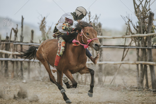 Indonesia, Sumbawa Besar - September 16, 2017: Jockey riding racehorse during horse racing