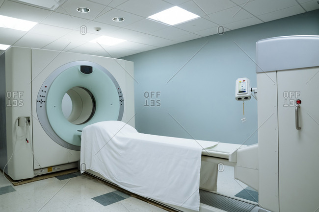 MRI Scanner in medical examination room at hospital