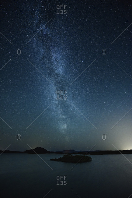 Majestic view of river against star field