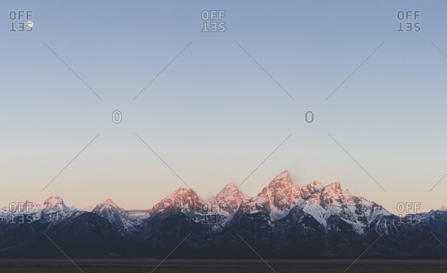 Scenic view of mountain ranges against clear sky