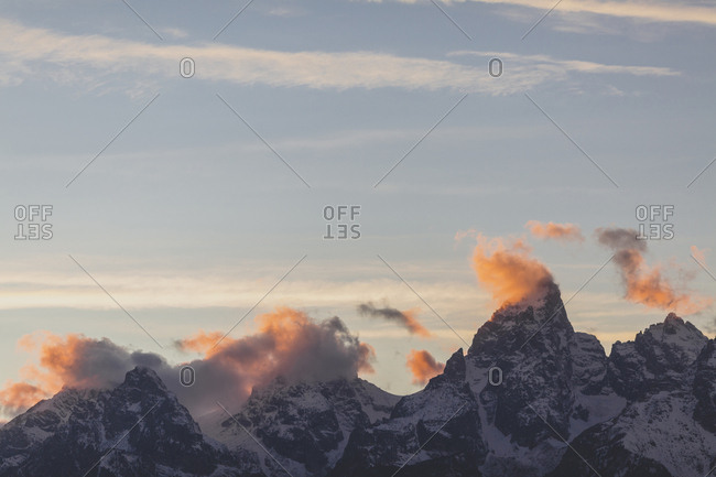 Low angle scenic view of mountain ranges against sky