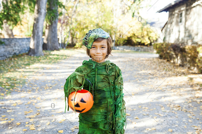 Portrait of boy wearing Halloween costume