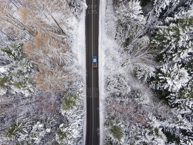 Snowy forest and road in Poland from above