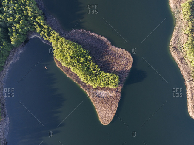 Aerial view of a lake in the late spring