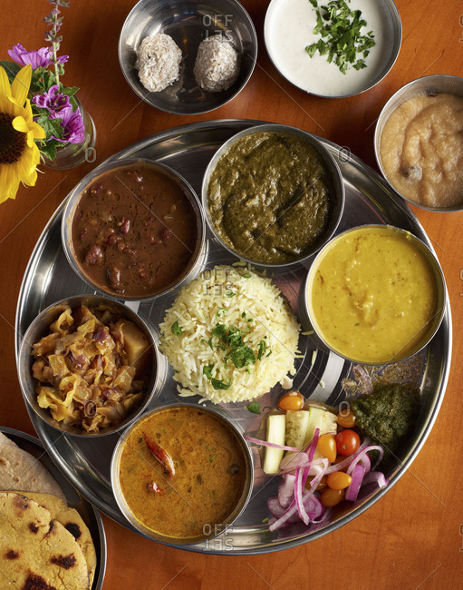 A collection of indian dishes known as Thali