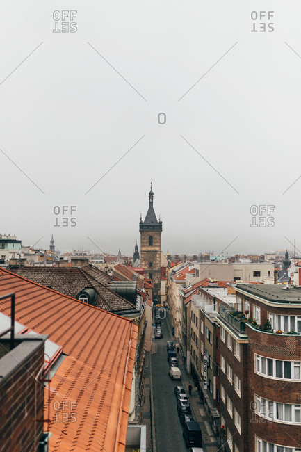 Pilsen, Czech Republic - October 18, 2017: Cityscape in moody weather
