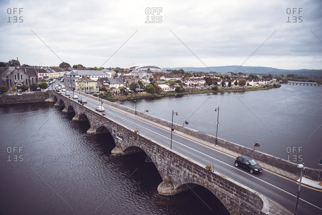 Limerick, Ireland - September 2, 2017: Long motorway bridge across river in limerick, Ireland