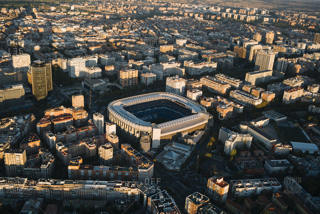 Madrid, Spain - November 10, 2017: Beautiful panorama from air with modern buildings in sunset light