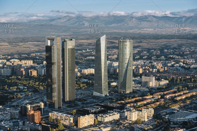 Madrid, Spain - November 10, 2017: Landscape of modern city from air on background of mountains