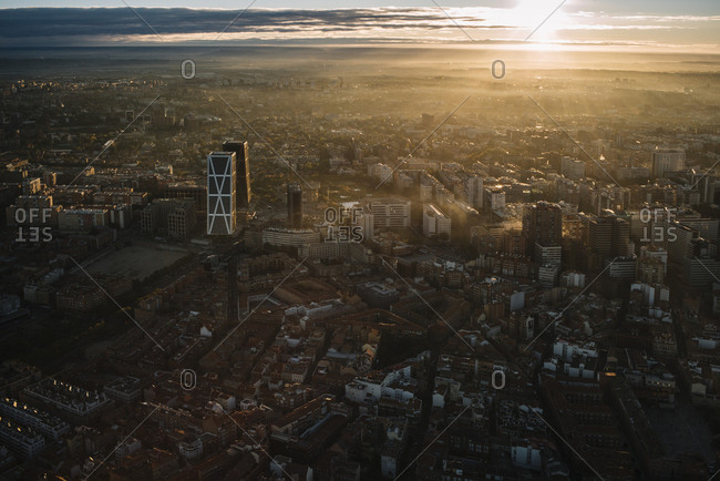 Madrid, Spain - November 10, 2017: Cityscape from air at sunset