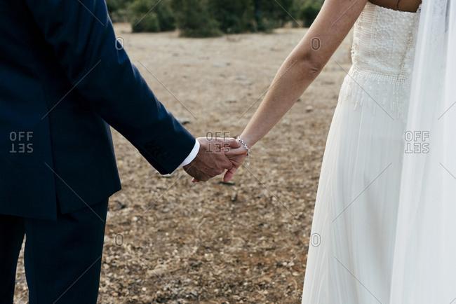 Crop stylish bride and groom walking on field