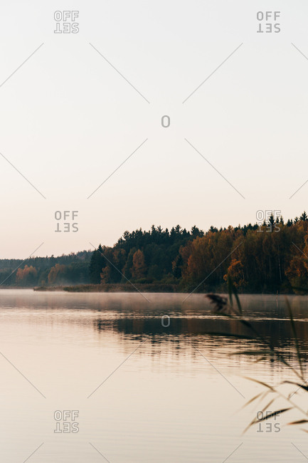 Calm lake surface in morning