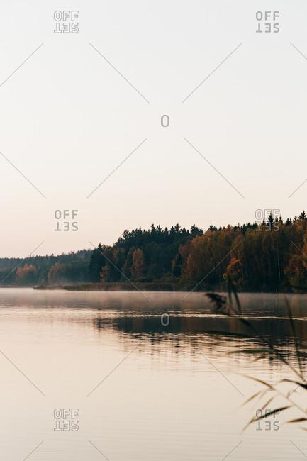 Calm lake surface in morning
