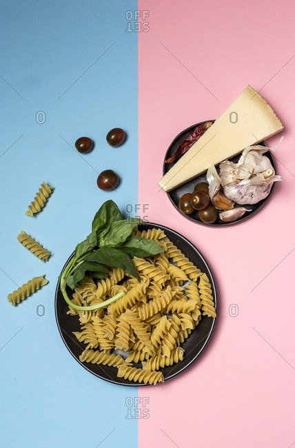 Composed delicious ingredients on colorful backdrop